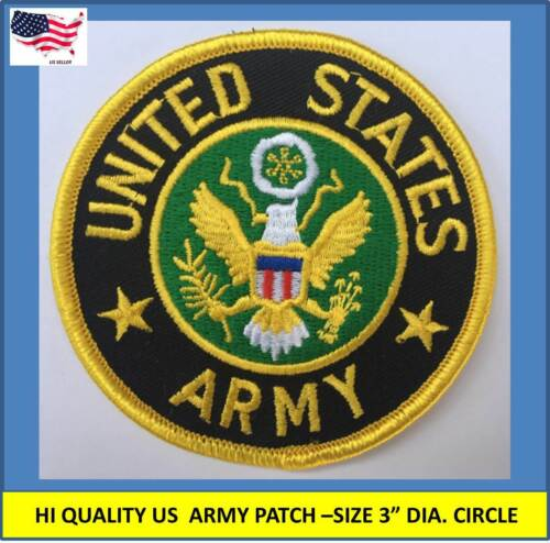 """US ARMY EMBROIDERED PATCH IRON-ON SEW-ON 3"""" ROUND APPLIQUE - HIGH QUALITYPatches - 113337"""