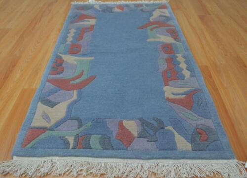 2'5x4'5 Modern Design Blue Plush Pile Nepal Hand Knotted Oriental Wool Area Rug