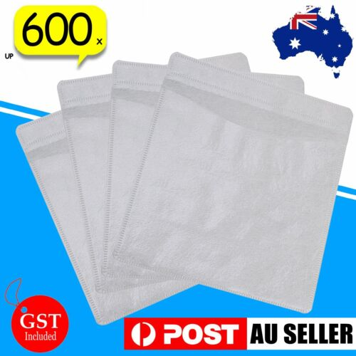 100-600pcs Premium White CD DVD Double Sided Plastic Sleeves Holds 2 discs AU