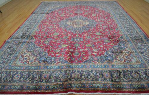 9'7 x 13 Genuine Semi Antique Hand Knotted Wool Area Rug Oriental Carpet 10x13