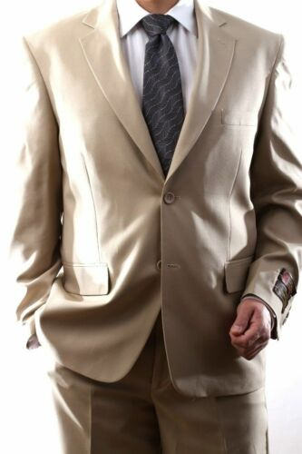 MENS SINGLE BREASTED 2 BUTTON BEIGE DRESS SUIT size 36 x 30