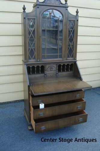 56351   Antique Mahogany Secretary Desk w/ Bookcase Top