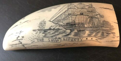 """""""SHIP LIBERTY"""" fine details  historic Sperm whale tooth scrimshaw REPRODUCTION"""