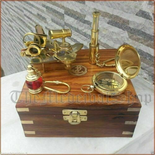 Vintage Maritime Compass/Telescope/Sextant W/ Wooden Box Nautical Brass Gift Set