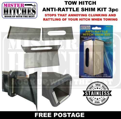 ANTI RATTLE HITCH SHIM KIT -  3PC BALL MOUNT TONGUE TOW BAR TRAILER CAMPER <br/> STOP THAT ANNOYING HITCH RATTLE & CLUNKING NOISE