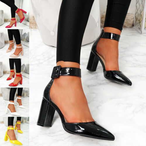 WOMENS LADIES ANKLE STRAP HIGH HEEL COURT PUMPS POINTED TOE BLOCK HEEL SHOES