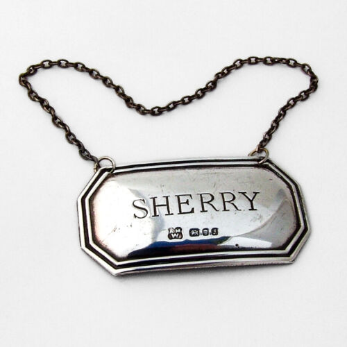 English Sherry Bottle Tag Label Sterling Silver 1983 London