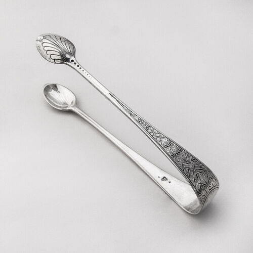 English Engraved Sugar Tongs Aldwinckle Slater Sterling Silver 1887