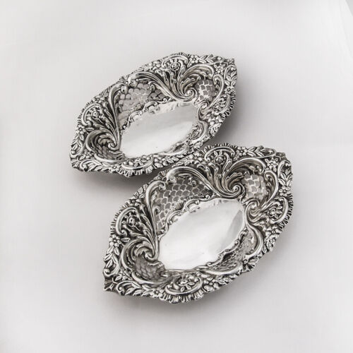English Repousse Openwork Oval Bowls Pair Sterling Silver 1902