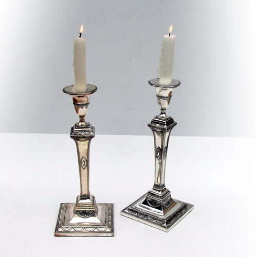 English Sheraton Candlesticks Pair Thomas Daniell Sterling Silver 1785 Crest