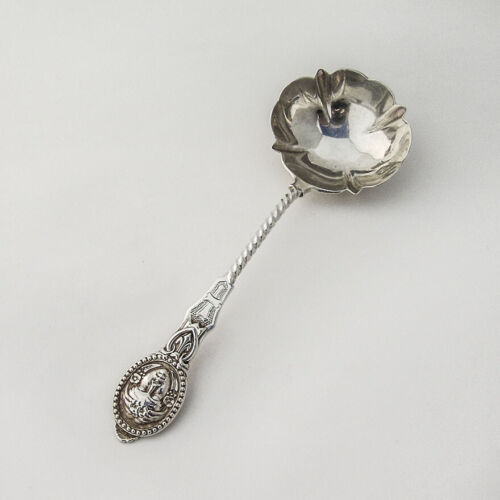 Albert Coles Gravy Ladle Female Medallion Coin Silver 1850s
