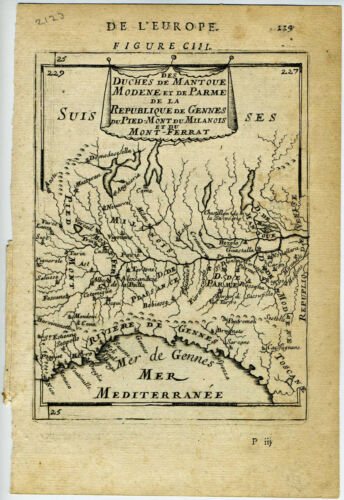 1683 Genuine Antique map of northern Italy, Po River, Cremona. A.M. Mallet