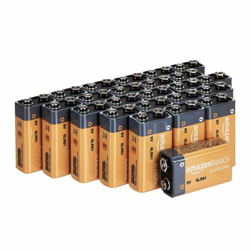 AmazonBasics 9 Volt Everyday Alkaline Batteries - Pack of 24 (Non-rechargeable)