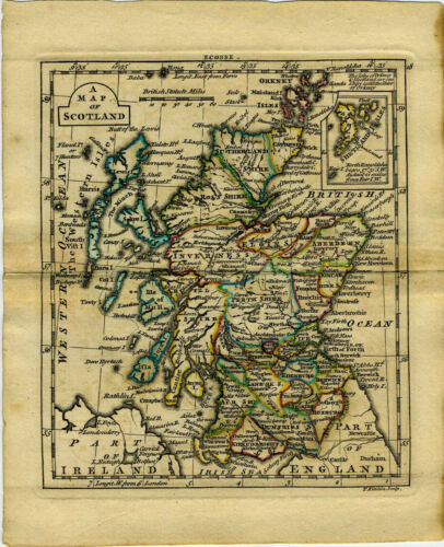1761 Genuine Antique miniature hand colored map of Scotland. by A. Dury