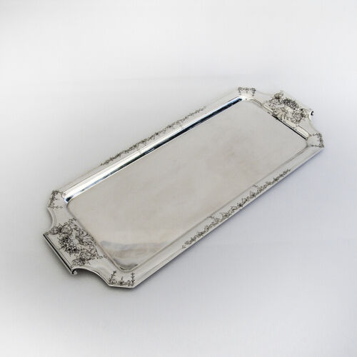 Sheraton Style Floral Handled Cocktail Tray International Sterling Silver