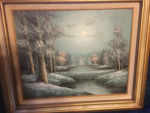 Original W Holwood 'Winter Scene With Pine Trees- Signed And Framed