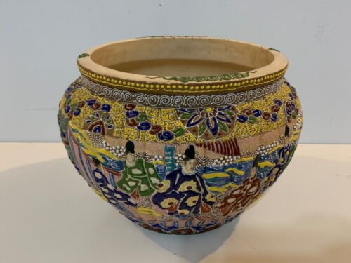 Antique Asian Enamel Satsuma Earthenware Large Planter / Fish Pot