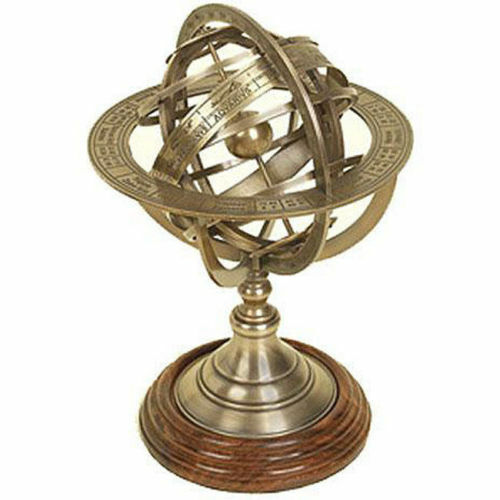 10'' Solid Brass Tabletop Armillary Nautical Sphere Globe Nautical Armillary