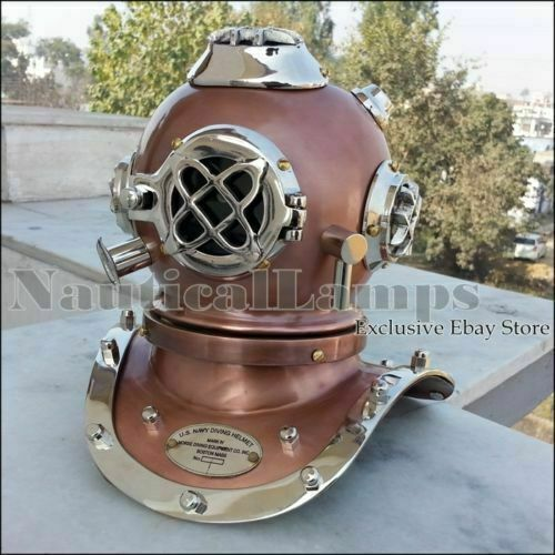 Navy Mark lV Solid Copper and Brass Divers Diving Helmet Vintage Sea Scuba gift