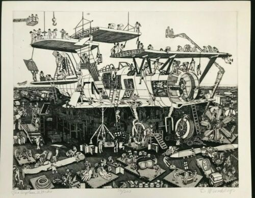 """Airplane Works"" Bruce McCombs ETCHING Pencil Signed LIMITED EDITION Rare PRINT"