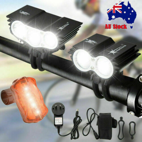 Super Bright 20000LM Bicycle Head Front Light Headlight Taillight Rechargeable