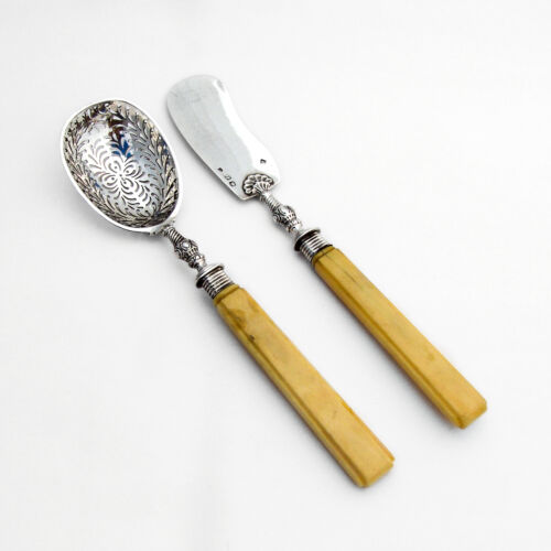 French Sugar Sifter Master Butter Knife Set Angee Sterling Silver 1840s