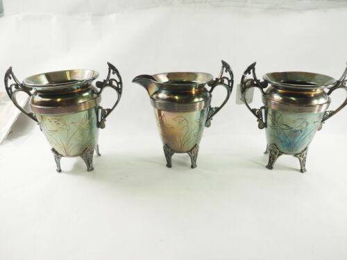 Antique 3 Piece Engraved Floral Pattern Silverplate Creamer,Sugar,and Spooner