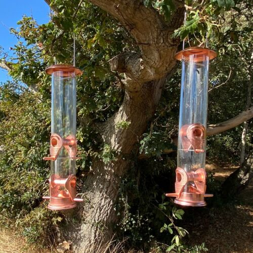 Copper Style Hanging Bird Seed Feeder with 4 Feeding Ports Wild Birds (Set of 2)