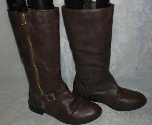 YOUNG DIMENSION WOMENS BROWN ZIP SYNTHETIC RIDING BOOTS SIZE:3/36(WB3192)