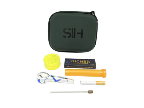 Smoke House Smoking Kit Glass Pipe Grinder Papers One Hitter Tube Case