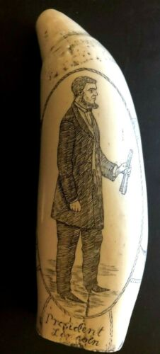 """SCRIMSHAW repo SPERM WHALE TOOTH PRESIDENT """"ABRAHAM LINCOLN"""" EXCELLENT WORK"""