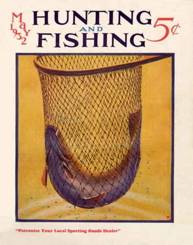 Vintage Fly Fishing Magazine Cover Poster Art Print Office Cabin Wall Art Decor