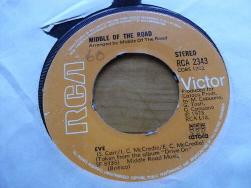 """MIDDLE OF THE ROAD 1973 EVE 45 rpm SINGLE 7"""" VINYL RECORD"""