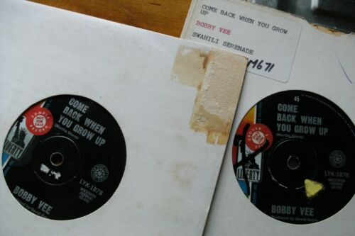 """BOBBY VEE COME BACK WHEN YOU GROW UP 45 rpm SINGLE 7"""" VINYL RECORD"""