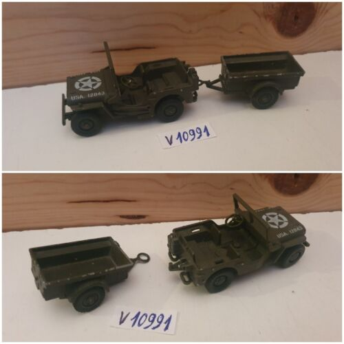 (56) solido militaire no chars,  jeep willys + remorque non petite voiture