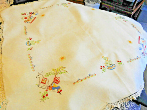 Mexican Siesta Themed Vintage Hand Embroidered  & Crocheted Linen Tablecloth VGC