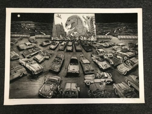 """Hollywood"" by Bruce McCombs ETCHING Pencil Signed LIMITED EDITION Rare PRINT"