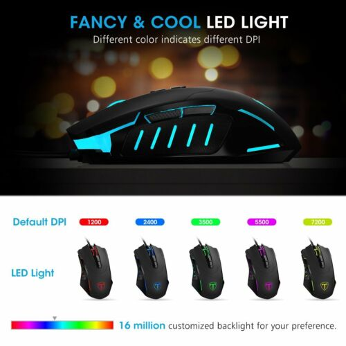7200DPI Ergonomic RGB LED Gaming Mouse 8 Programmable Buttons Mice for Laptop PC