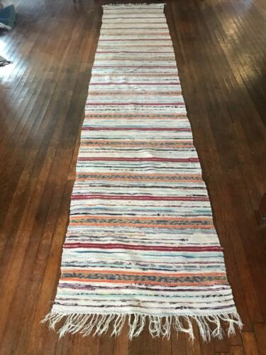 Light colored Swedish Hand Made Rag Rug (28 inches X 137 inches)