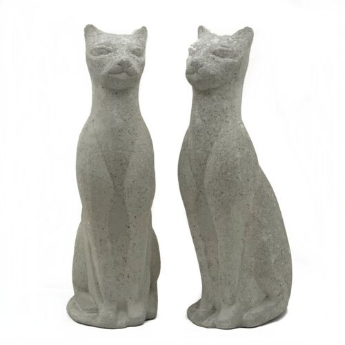 PAIR of VINTAGE SIAMESE CAT STATUE Cement Concrete Persian Kitten Garden Figure