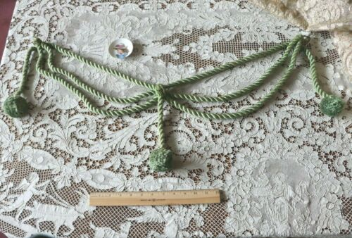 """1 Antique Vintage c1920s French Silk & Cotton Green Curtain Tie Back~L-25"""""""