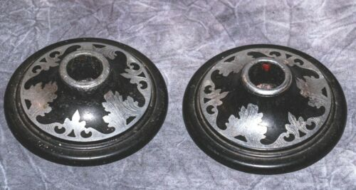PAIR 1940s BAKELITE AND ENGRAVED SILVER CANDLESTICKS - APPROX 10.5CM DIAMETER