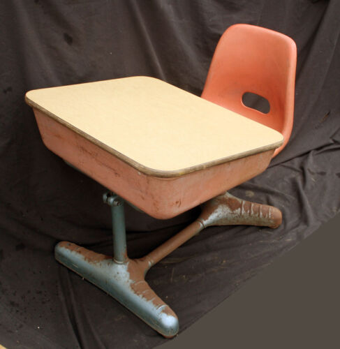 Vintage Old Art Deco Adjustable Metal Wood Child Kid School Student Desk Chair