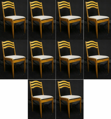 Set 10 Vintage Wood Wooden Cafe Restaurant Bistro Dining Side Chairs Fabric Seat