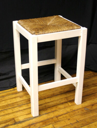 Vintage Antique Rattan Seagrass Wicker SOLID Wood Wooden Stool Chair Plant Stand