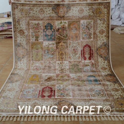 Yilong 5.5'x8' Antique Silk Area Rug Hand Knotted Four Seasons Shag Carpets 1682