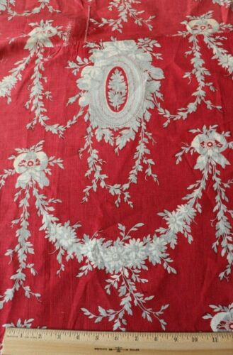 Antique French Turkey Red & Gray Hand Blocked 19thC Rose & Bows Toile Fabric