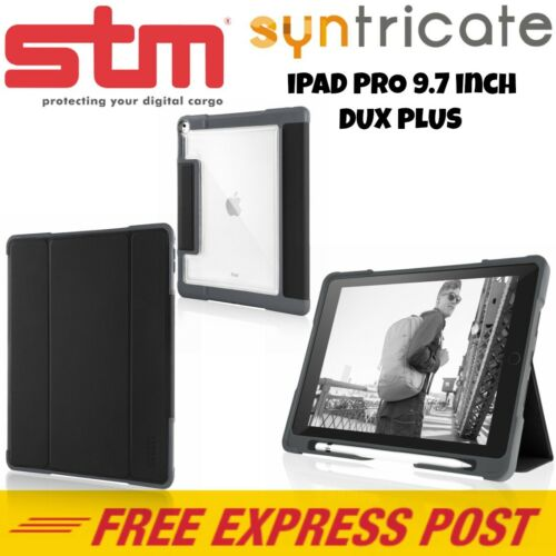 STM DUX Plus Clear TPU Rugged Protective Folio Case/Cover for iPad Pro 9.7 Black