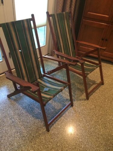 Selrite New York Vintage Wood Camp Beach Lawn Chairs Canvas