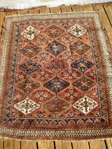 AMAZING  1900  ANTIQUE   FULL PILE  SMALL RUG  EXCEPTIONAL PIECE  GREAT COLORS